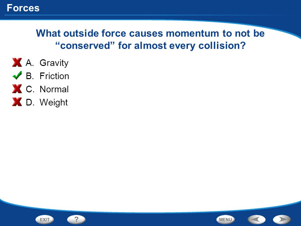What outside force causes momentum to not be conserved for almost every collision