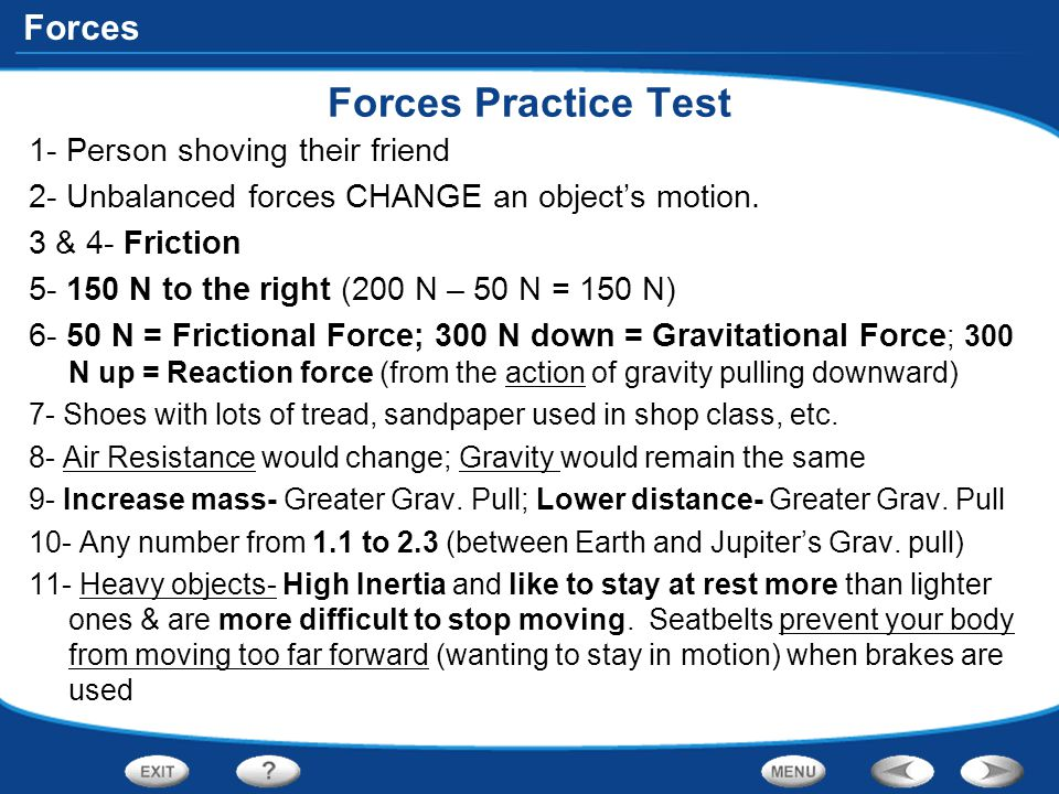 Forces Practice Test 1- Person shoving their friend