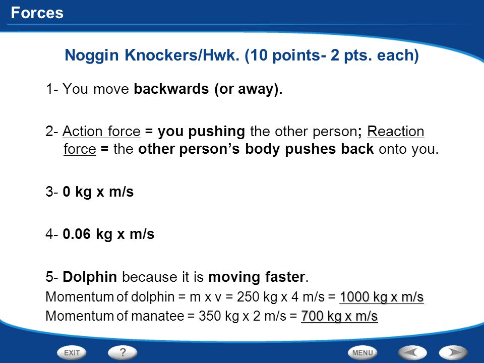 Noggin Knockers/Hwk. (10 points- 2 pts. each)