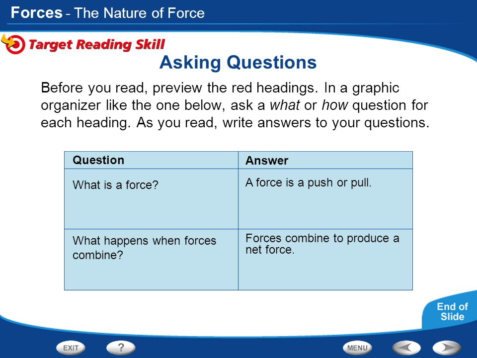 Asking Questions - The Nature of Force