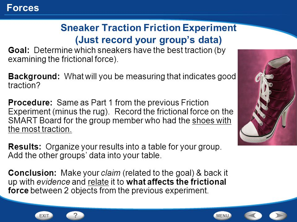 Sneaker Traction Friction Experiment (Just record your group's data)