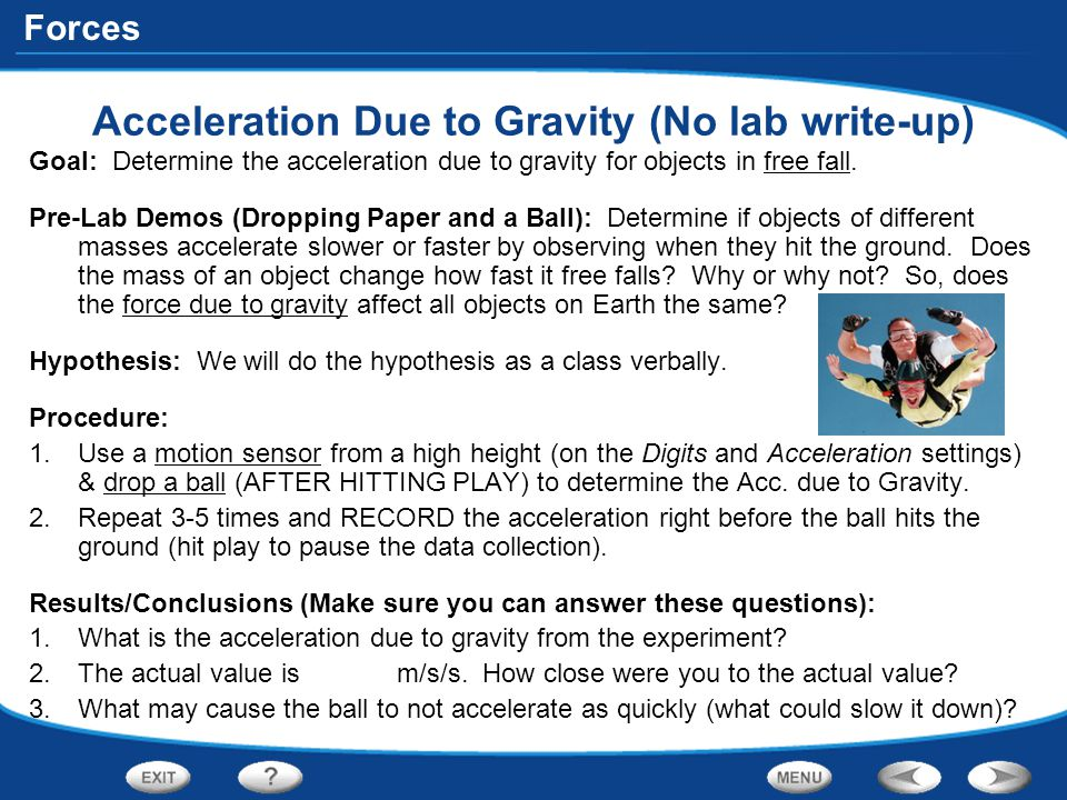 Acceleration Due to Gravity (No lab write-up)