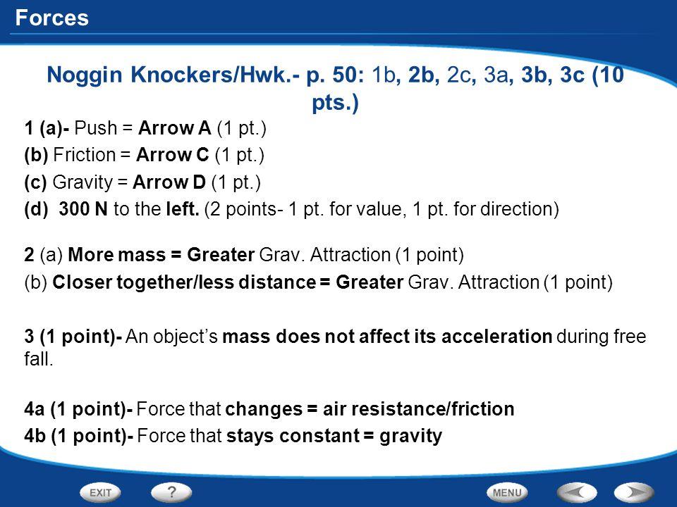 Noggin Knockers/Hwk.- p. 50: 1b, 2b, 2c, 3a, 3b, 3c (10 pts.)