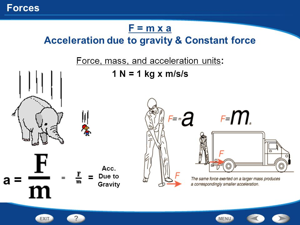 F = m x a Acceleration due to gravity & Constant force