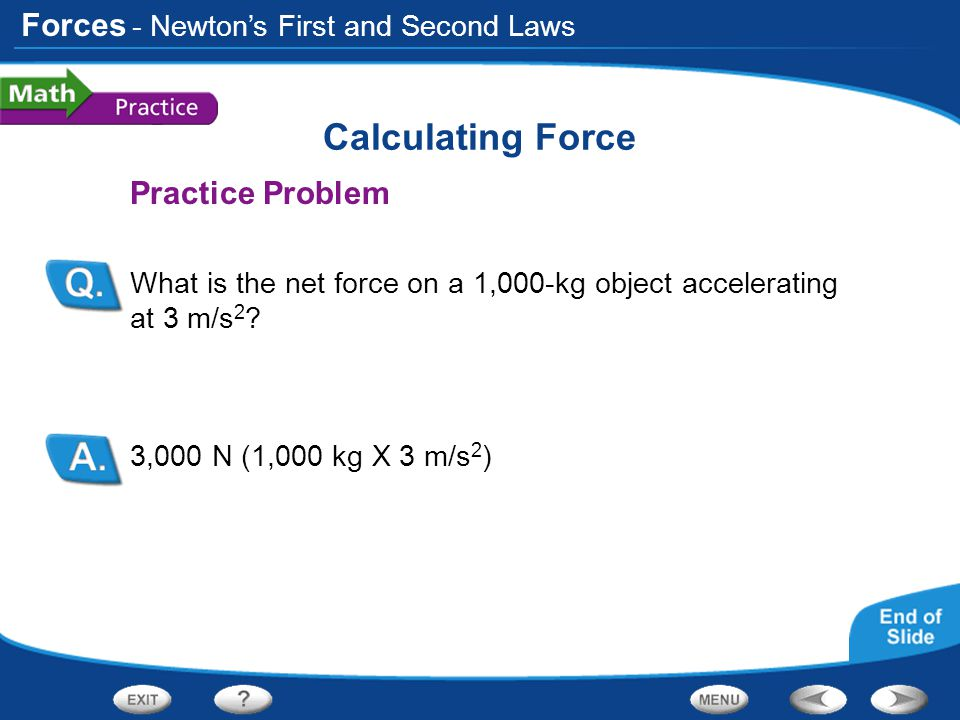 Calculating Force Practice Problem - Newton's First and Second Laws