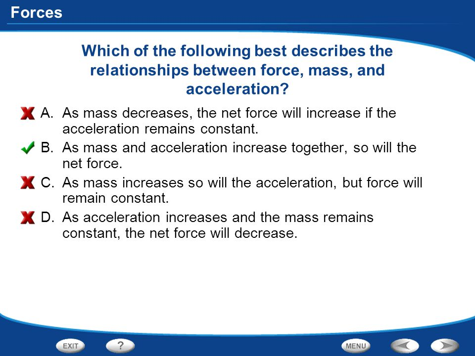 Which of the following best describes the relationships between force, mass, and acceleration