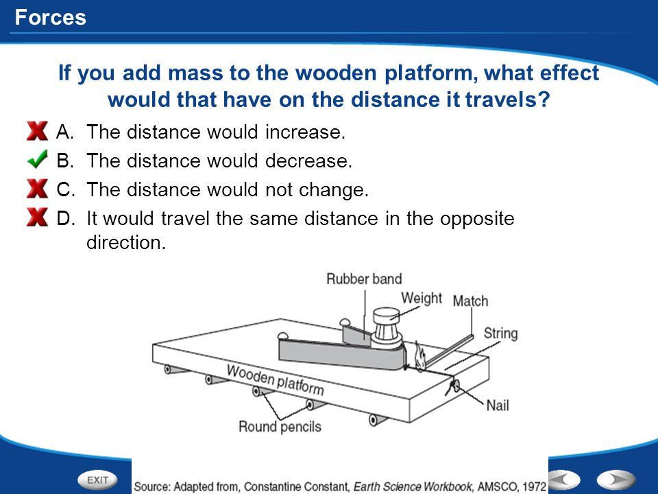 If you add mass to the wooden platform, what effect would that have on the distance it travels