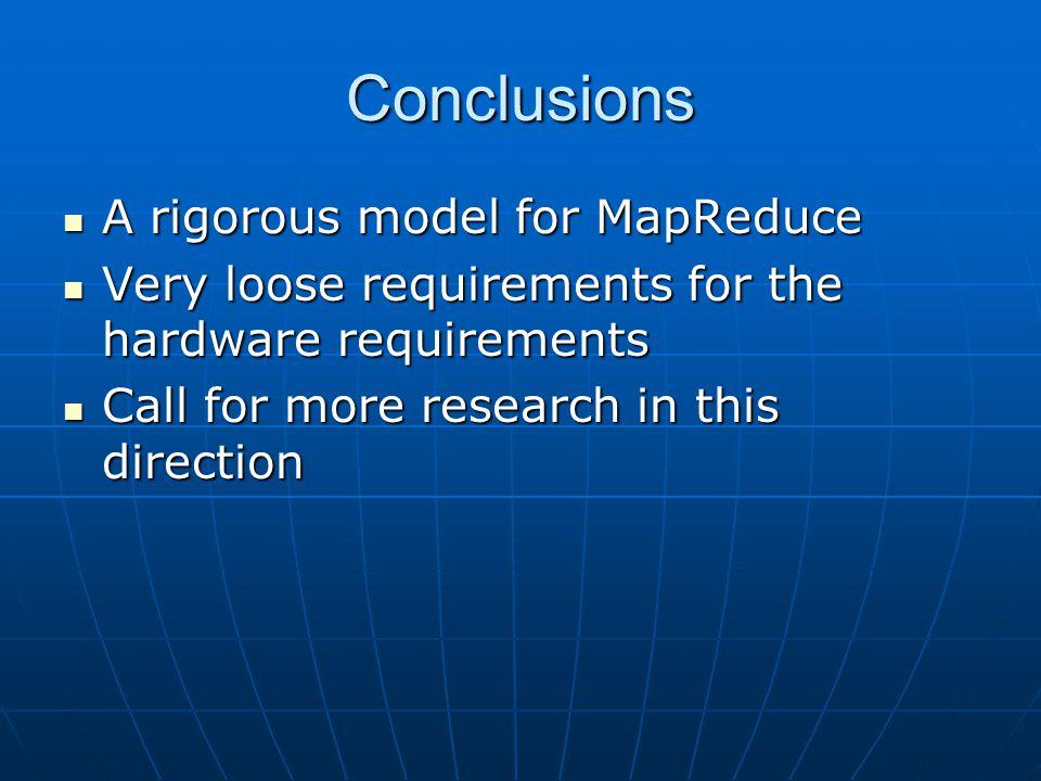 Conclusions A rigorous model for MapReduce