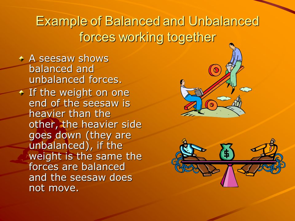 Example of Balanced and Unbalanced forces working together