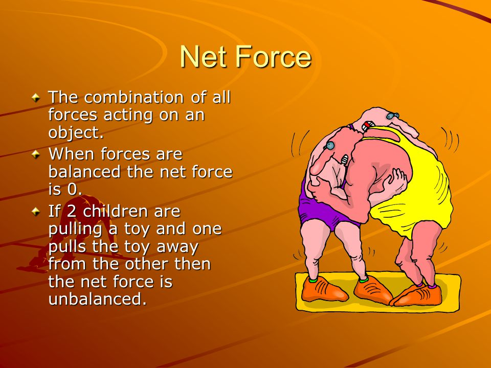 Net Force The combination of all forces acting on an object.