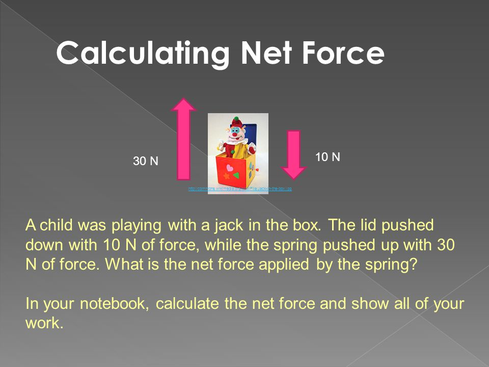 Calculating Net Force 10 N. 30 N. http://commons.wikimedia.org/wiki/File:Jack-in-the-box.jpg.