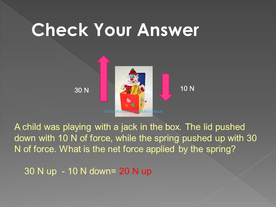Check Your Answer 10 N. 30 N. http://commons.wikimedia.org/wiki/File:Jack-in-the-box.jpg.