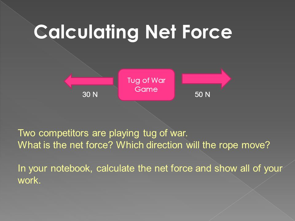 Calculating Net Force Two competitors are playing tug of war.