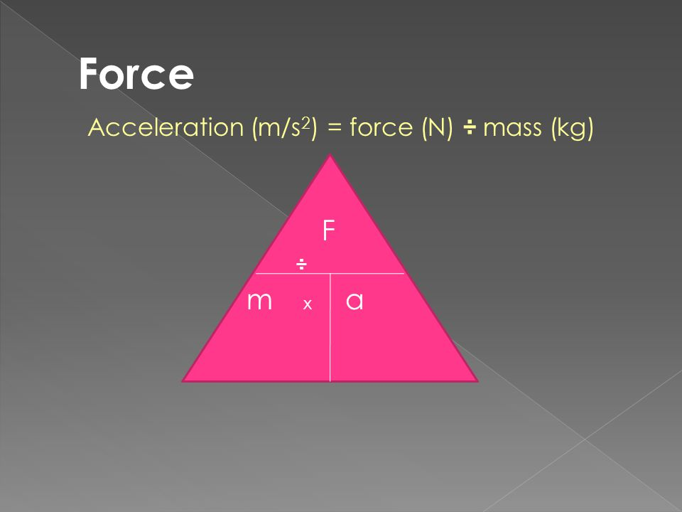 Force Acceleration (m/s2) = force (N) ÷ mass (kg) F ÷ m x a