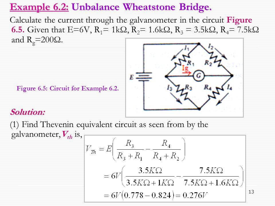 Example 6.2: Unbalance Wheatstone Bridge.