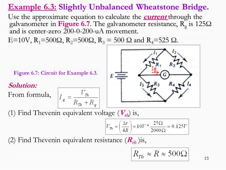 Example 6.3: Slightly Unbalanced Wheatstone Bridge.
