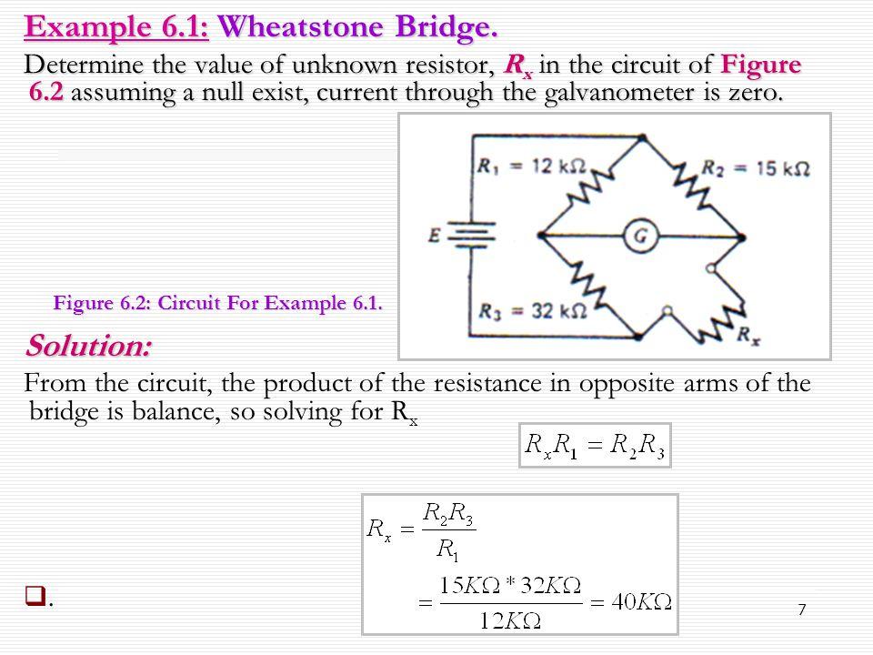 Example 6.1: Wheatstone Bridge.