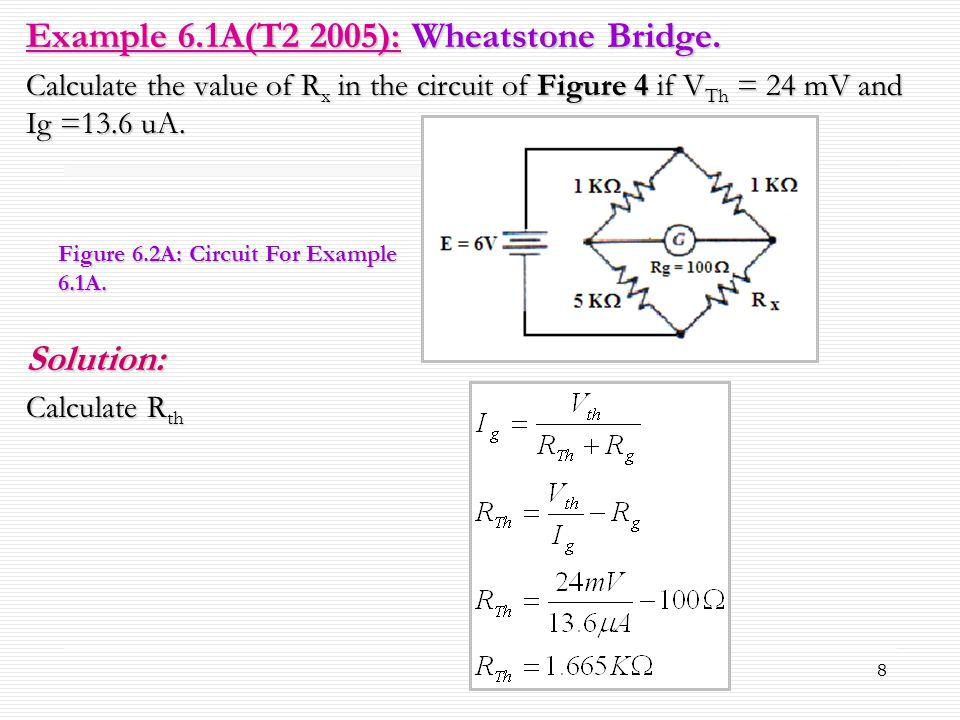 Example 6.1A(T2 2005): Wheatstone Bridge.