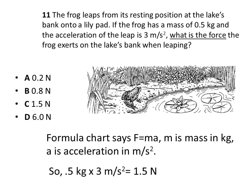 Formula chart says F=ma, m is mass in kg, a is acceleration in m/s2.