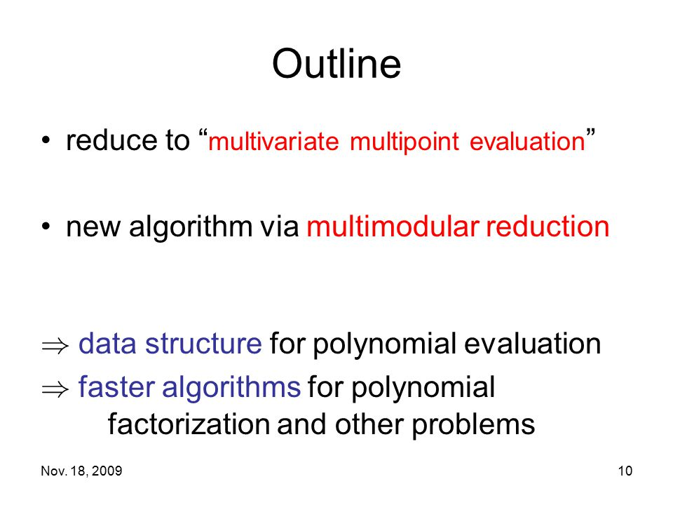Outline reduce to multivariate multipoint evaluation