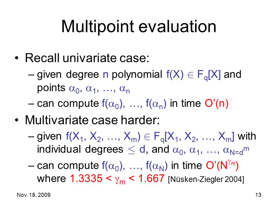Multipoint evaluation