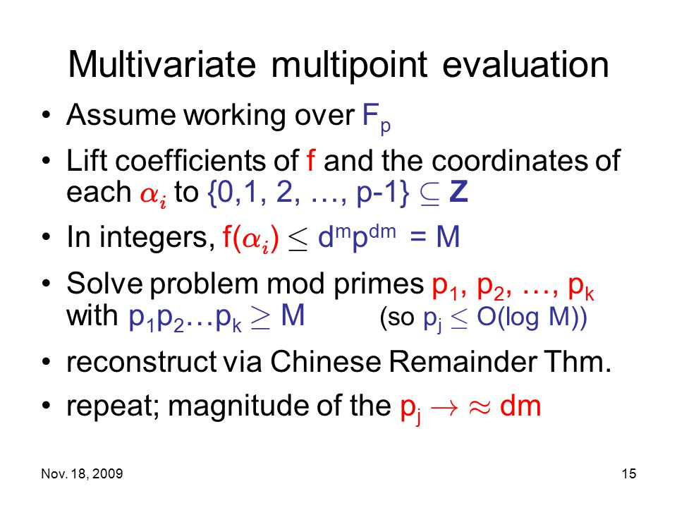 Multivariate multipoint evaluation