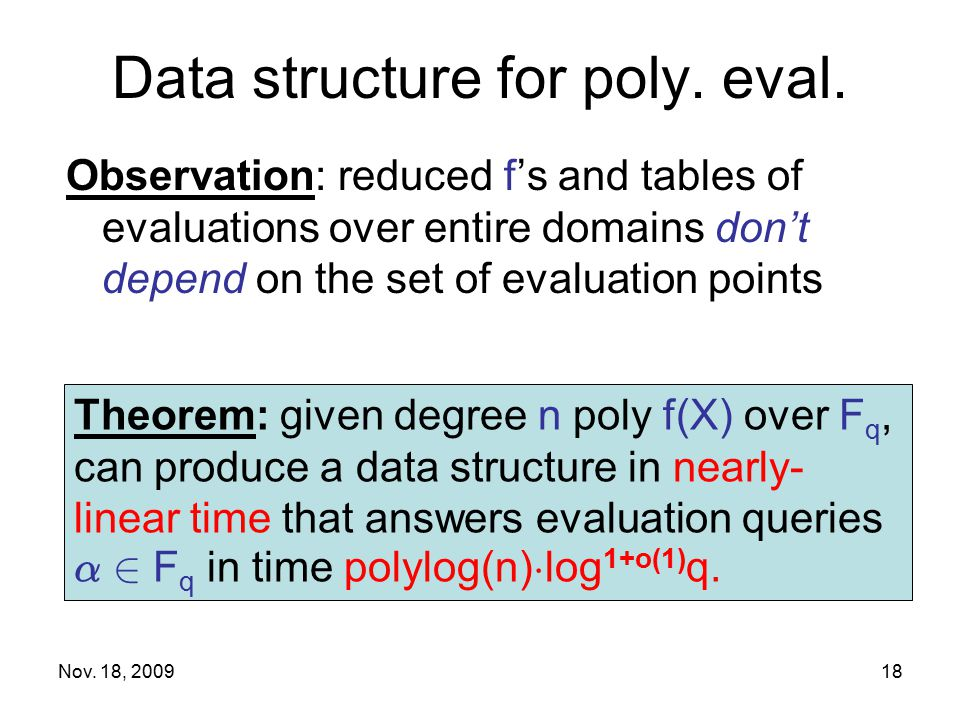 Data structure for poly. eval.