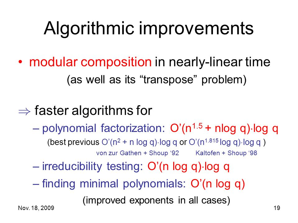 Algorithmic improvements