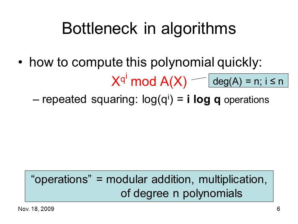 Bottleneck in algorithms