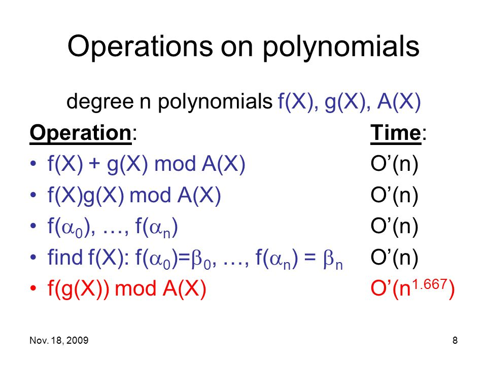 Operations on polynomials