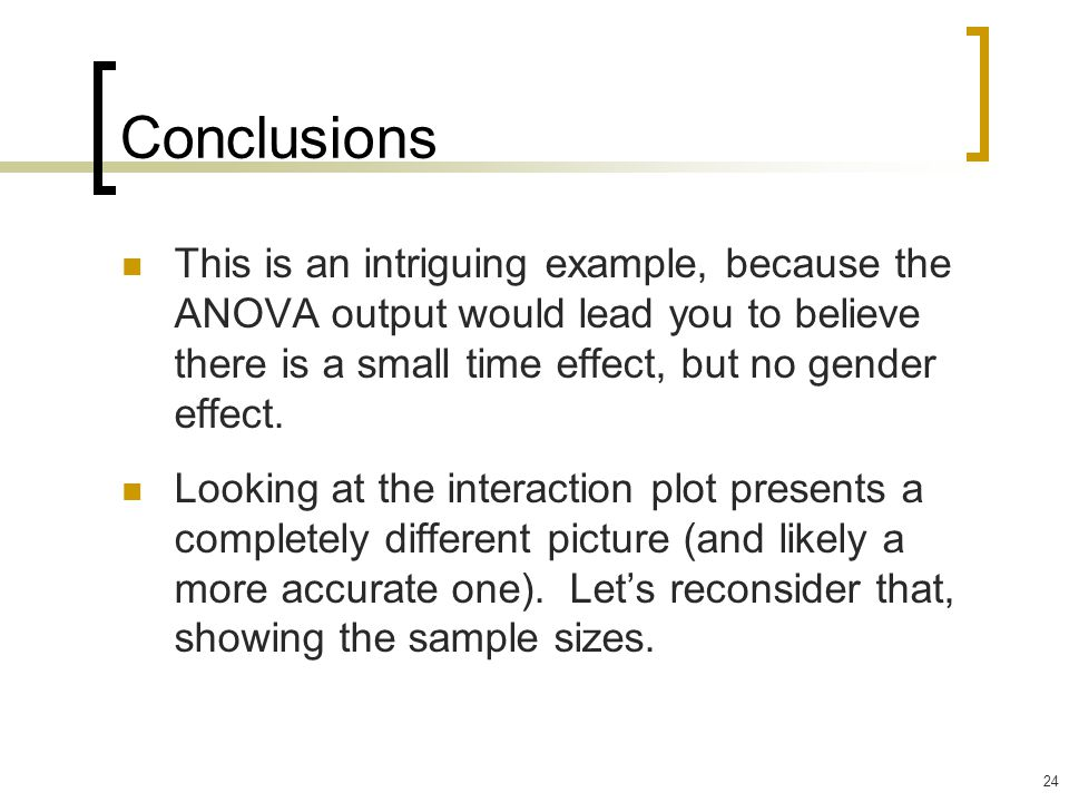 Conclusions This is an intriguing example, because the ANOVA output would lead you to believe there is a small time effect, but no gender effect.