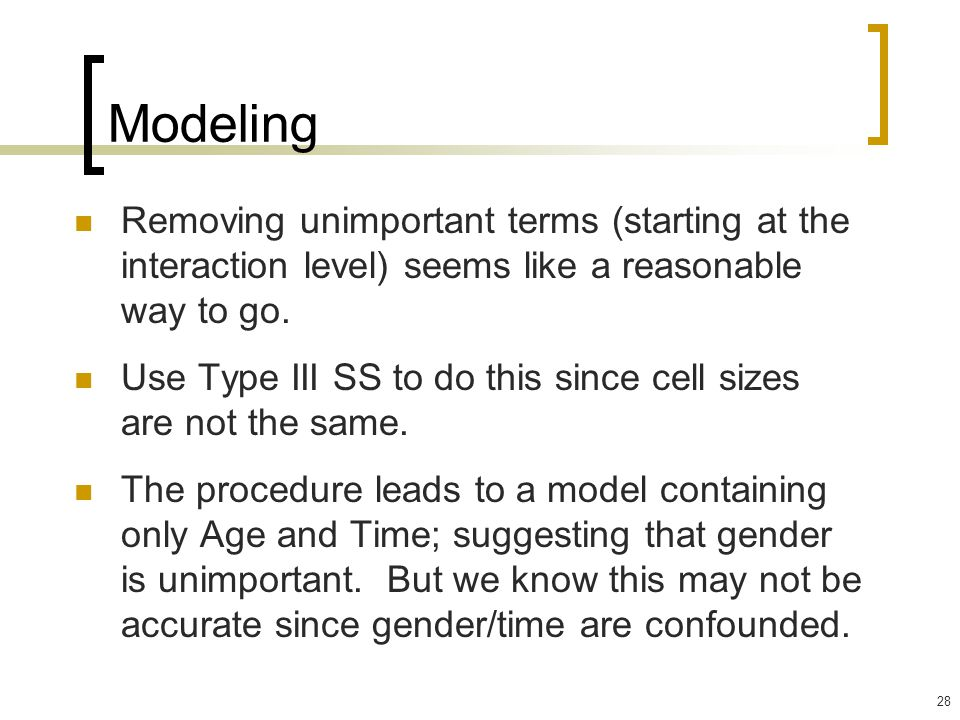 Modeling Removing unimportant terms (starting at the interaction level) seems like a reasonable way to go.