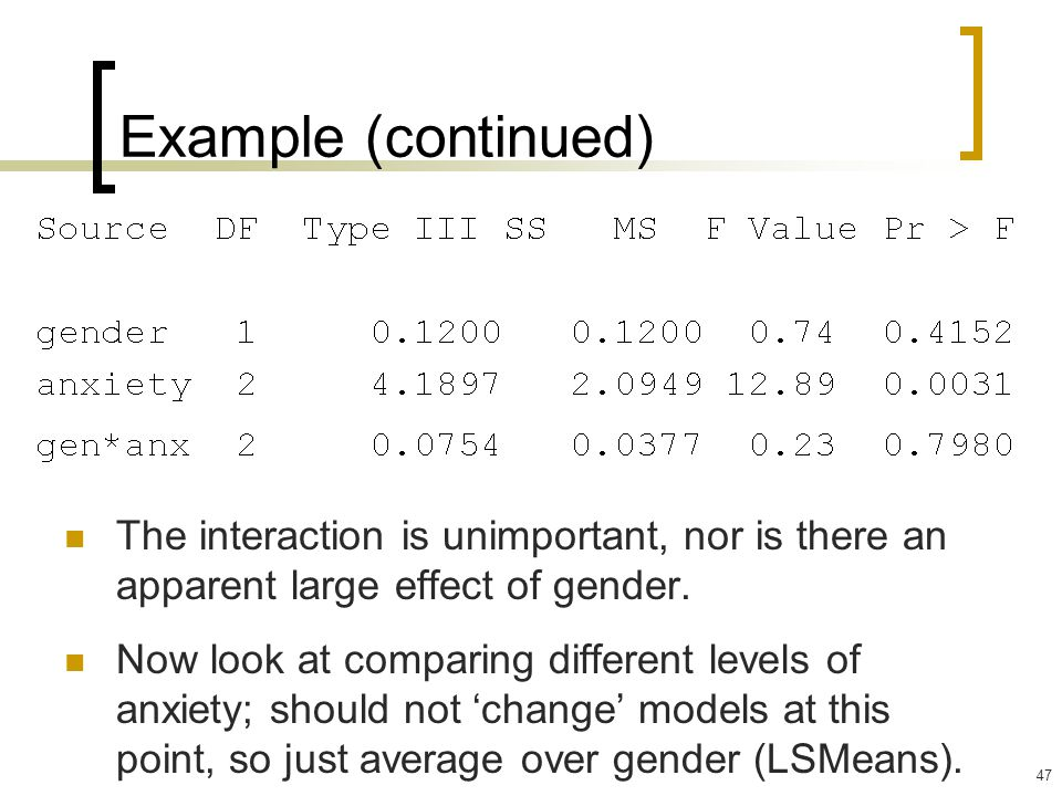Example (continued) The interaction is unimportant, nor is there an apparent large effect of gender.