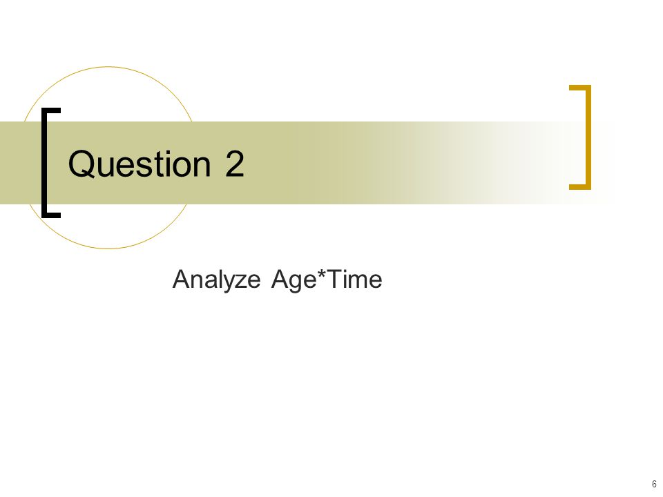 Question 2 Analyze Age*Time