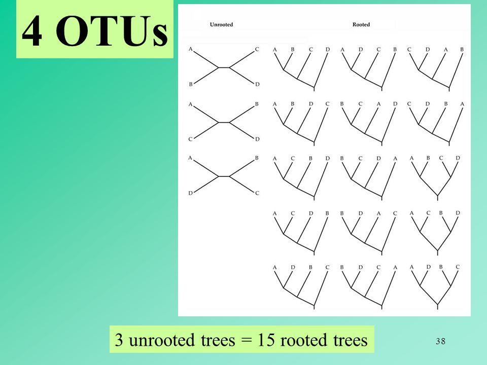 4 OTUs 3 unrooted trees = 15 rooted trees