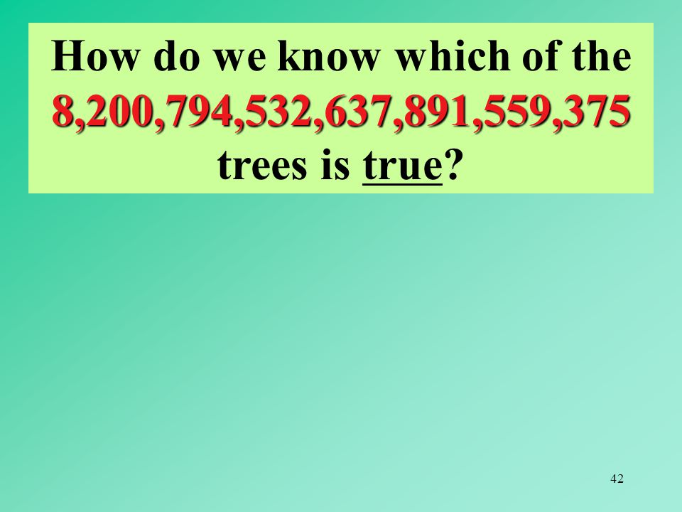 How do we know which of the 8,200,794,532,637,891,559,375 trees is true