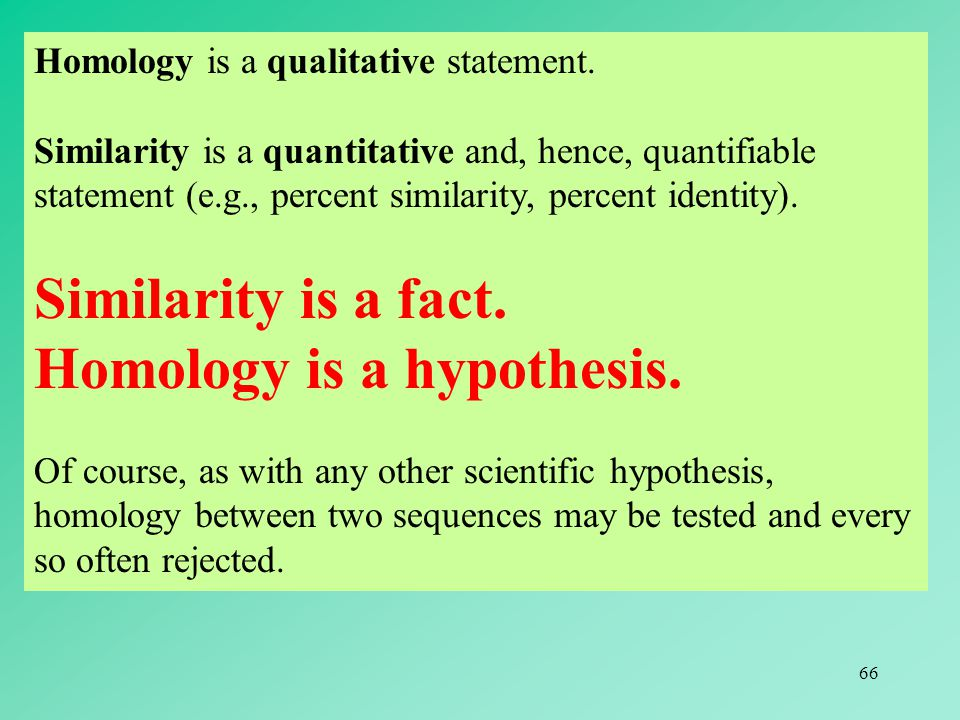 Homology is a hypothesis.