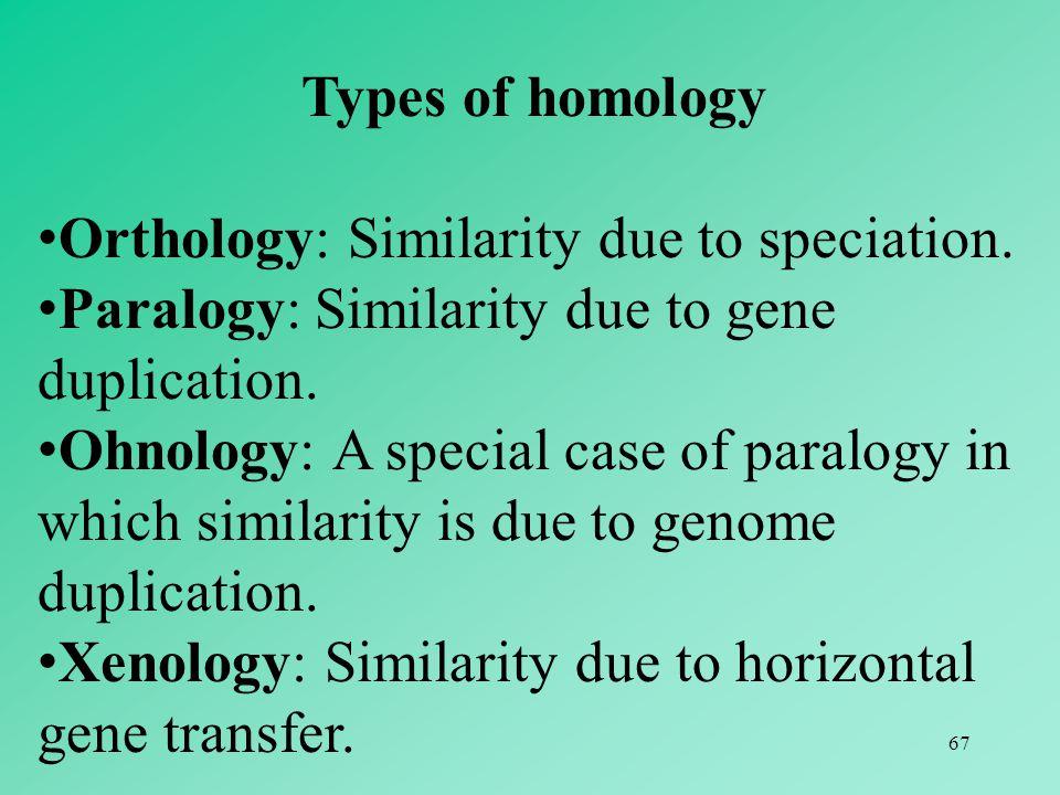 Types of homology Orthology: Similarity due to speciation. Paralogy: Similarity due to gene duplication.