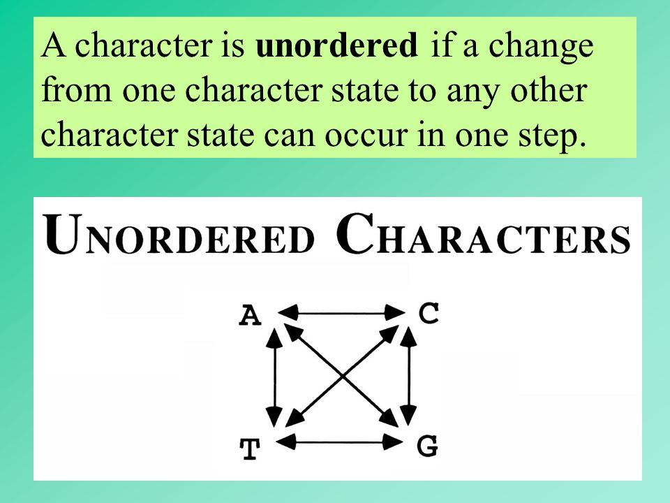 A character is unordered if a change from one character state to any other character state can occur in one step.