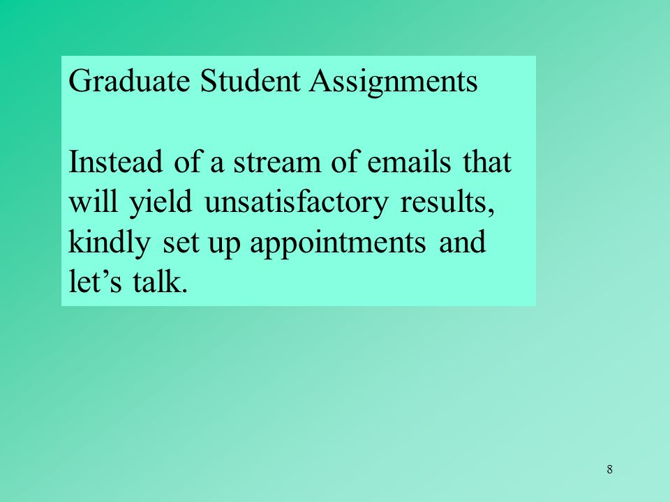 Graduate Student Assignments