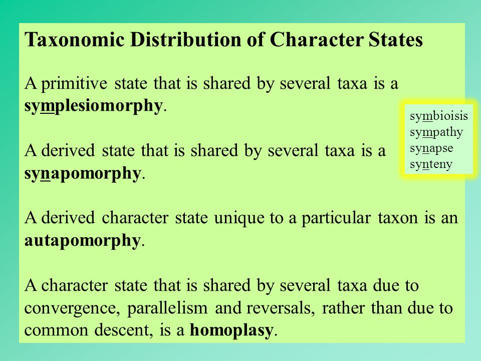 Taxonomic Distribution of Character States