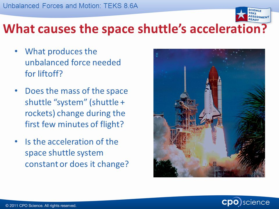 What causes the space shuttle's acceleration