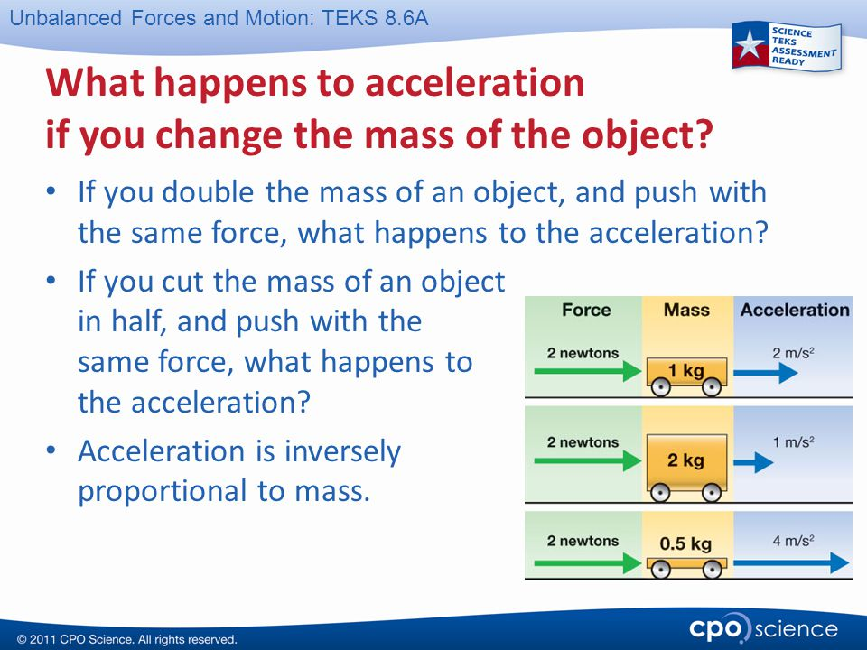 What happens to acceleration if you change the mass of the object
