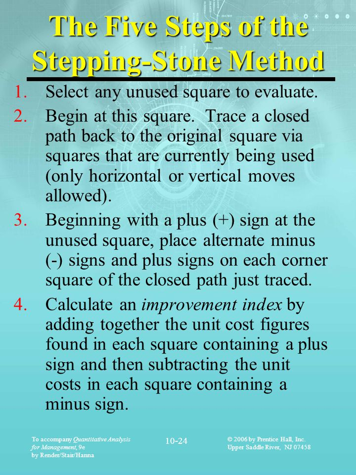 The Five Steps of the Stepping-Stone Method