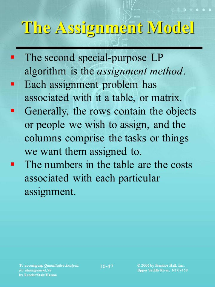 The Assignment Model The second special-purpose LP algorithm is the assignment method.