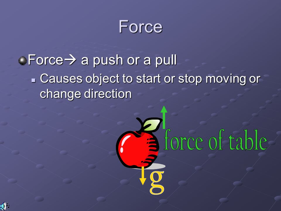 Force Force a push or a pull force of table g