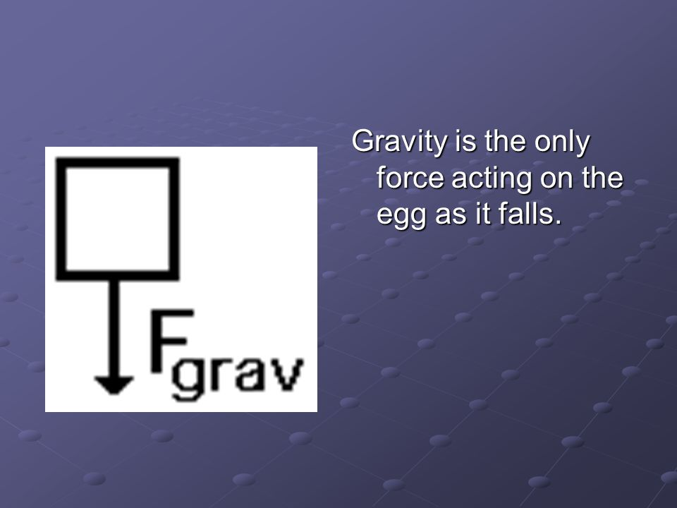 Gravity is the only force acting on the egg as it falls.