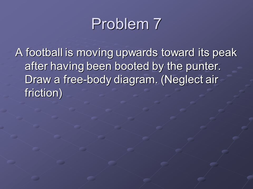 Problem 7 A football is moving upwards toward its peak after having been booted by the punter.