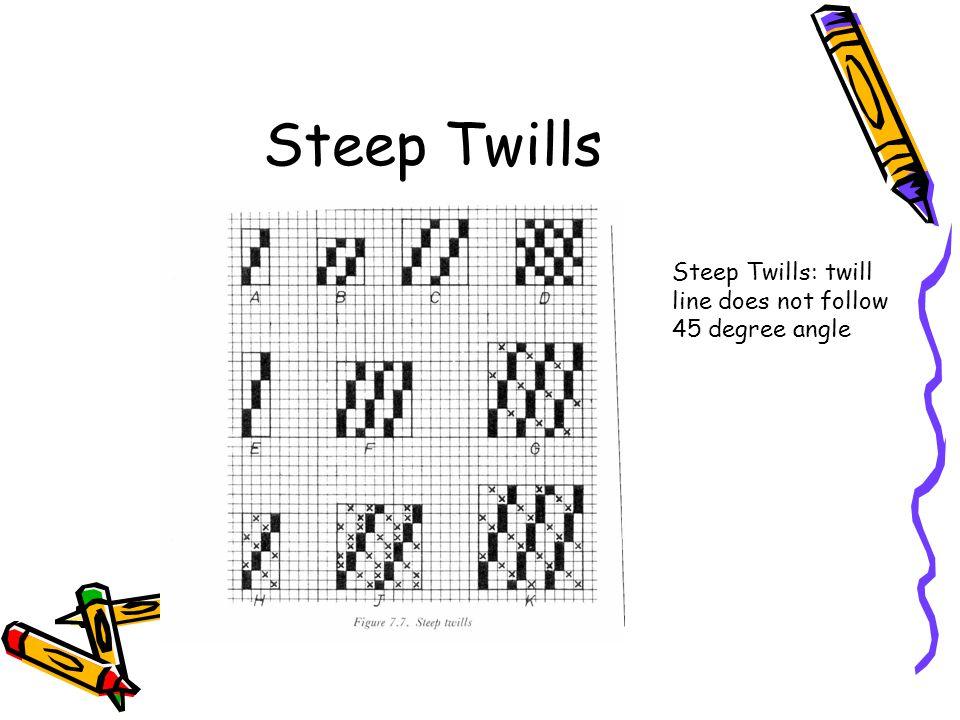 Steep Twills Steep Twills: twill line does not follow 45 degree angle