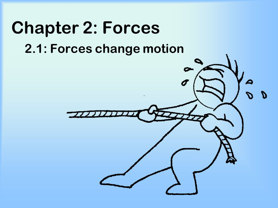 Chapter 2: Forces 2.1: Forces change motion